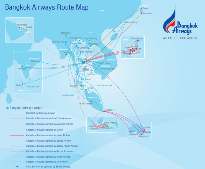 BangkokAir Route Map